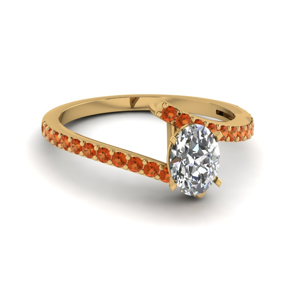 orange sapphire crossover diamond promise ring in FDENS3007OVRGSAOR NL YG GS
