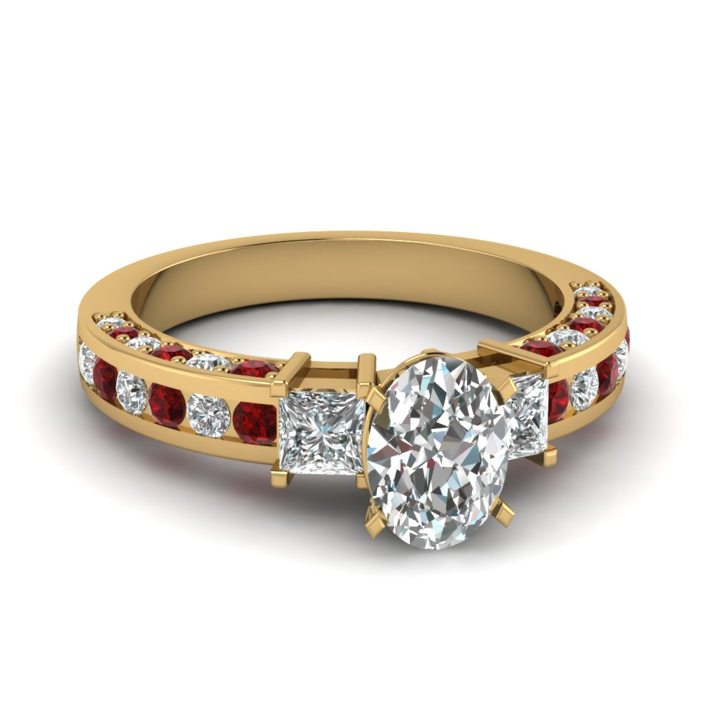 3 Stone Oval Diamond Engagement Ring With Ruby In 14K Yellow Gold