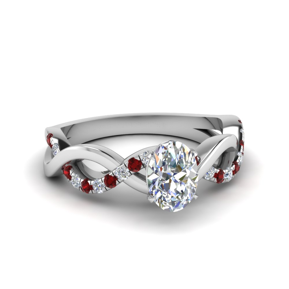 oval shaped infinity diamond engagement ring with ruby in FD1122OVRGRUDR NL WG