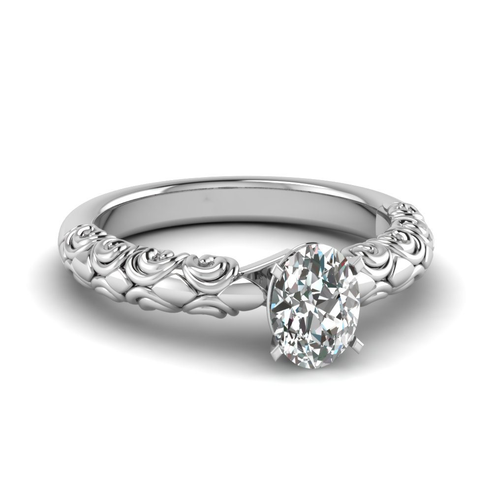 Oval Shaped Single Diamond Rings