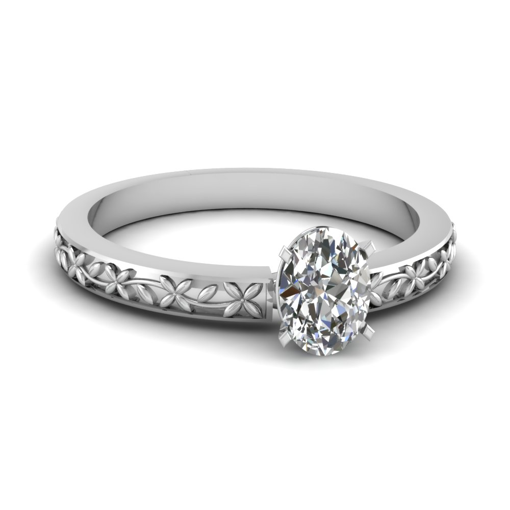 floral engraved oval diamond solitaire engagement ring in FDENS3552OVR NL WG