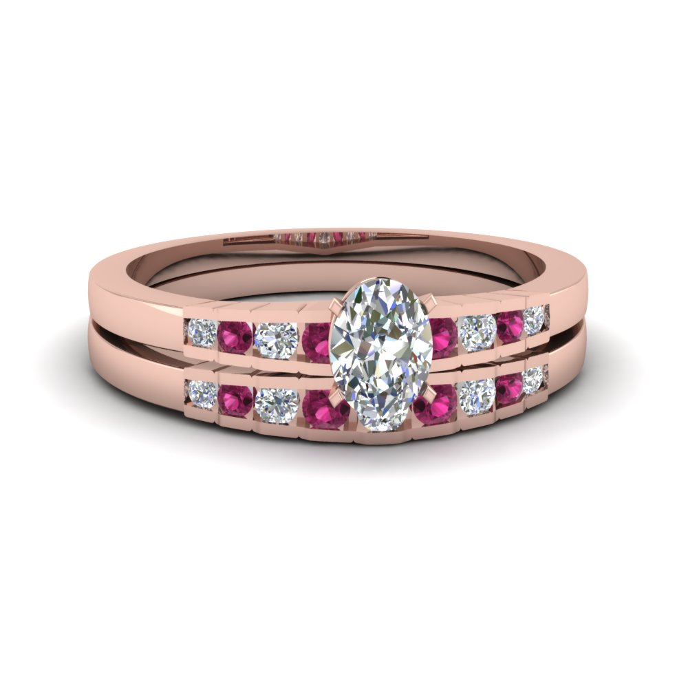 Oval Diamond Wedding Ring Set