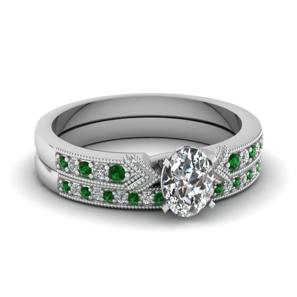 Emerald Milgrain Bridal Set