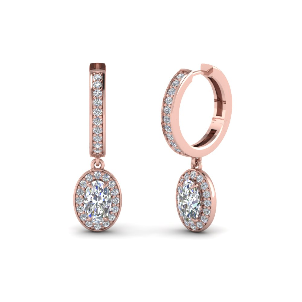 Oval Diamond Halo Hoop Earrings