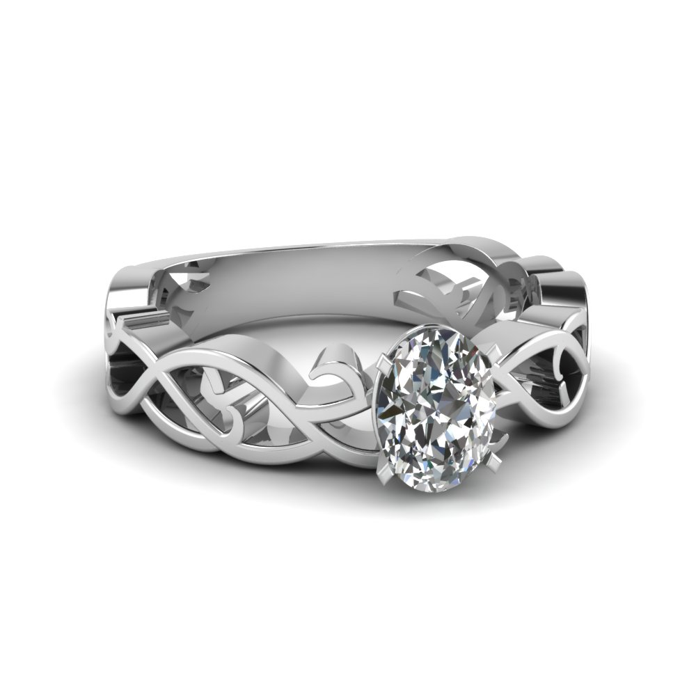 intricate oval diamond solitaire engagement ring in FDENS2246OVR NL WG
