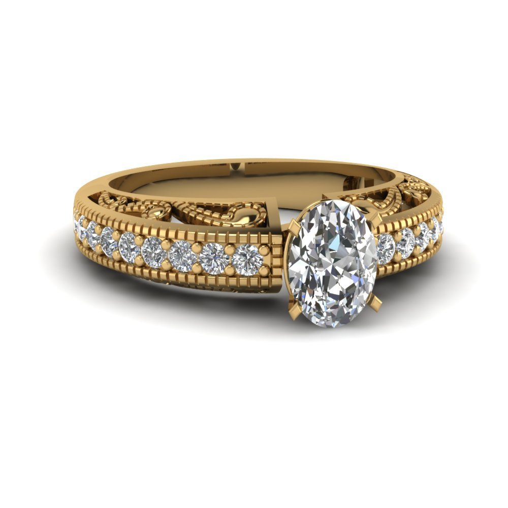 Gold Oval Shaped Milgrain Engagement Rings