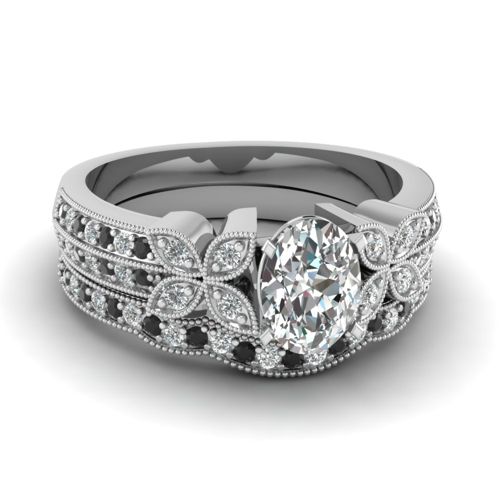 milgrain petal oval wedding ring set with black diamond in FDENS3308OVGBLACK NL WG