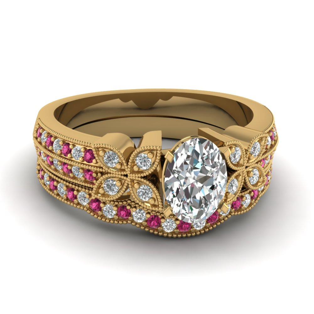 milgrain petal oval diamond wedding ring set with pink sapphire in FDENS3308OVGSADRPI NL YG