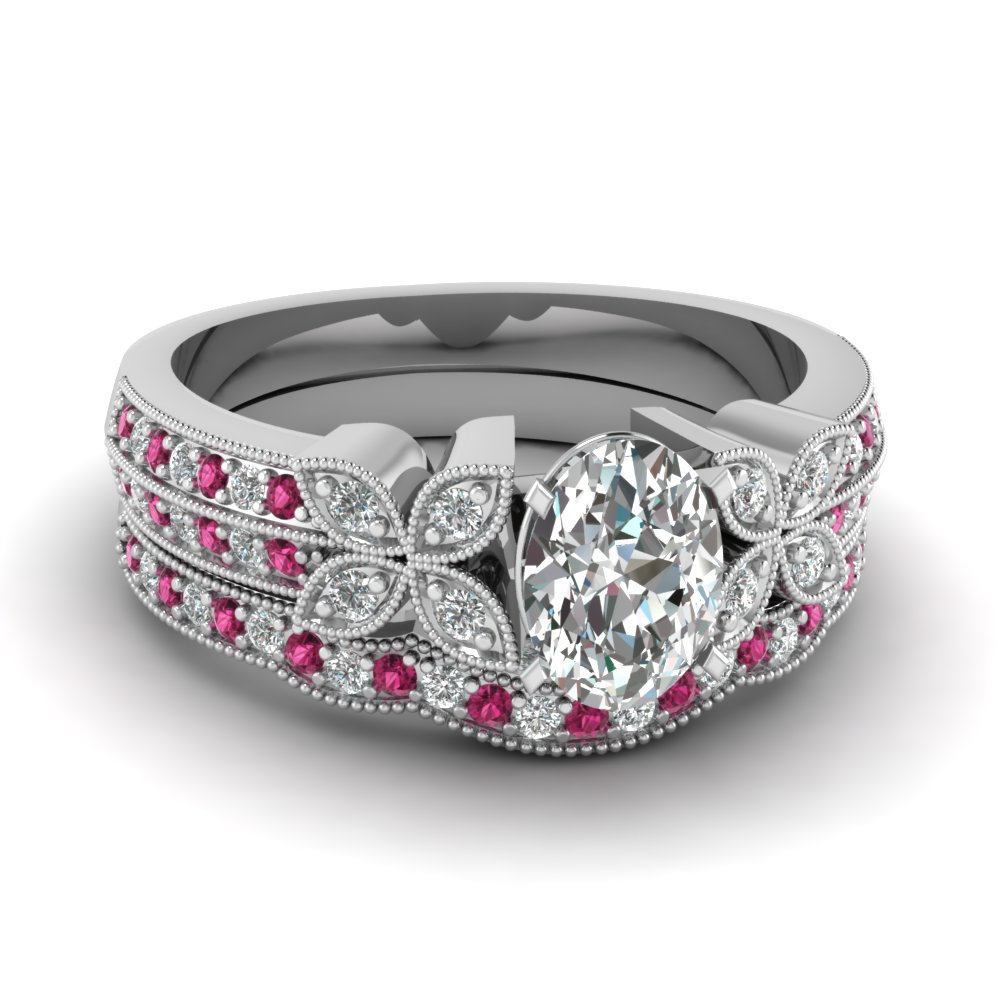 milgrain petal oval diamond wedding ring set with pink sapphire in FDENS3308OVGSADRPI NL WG