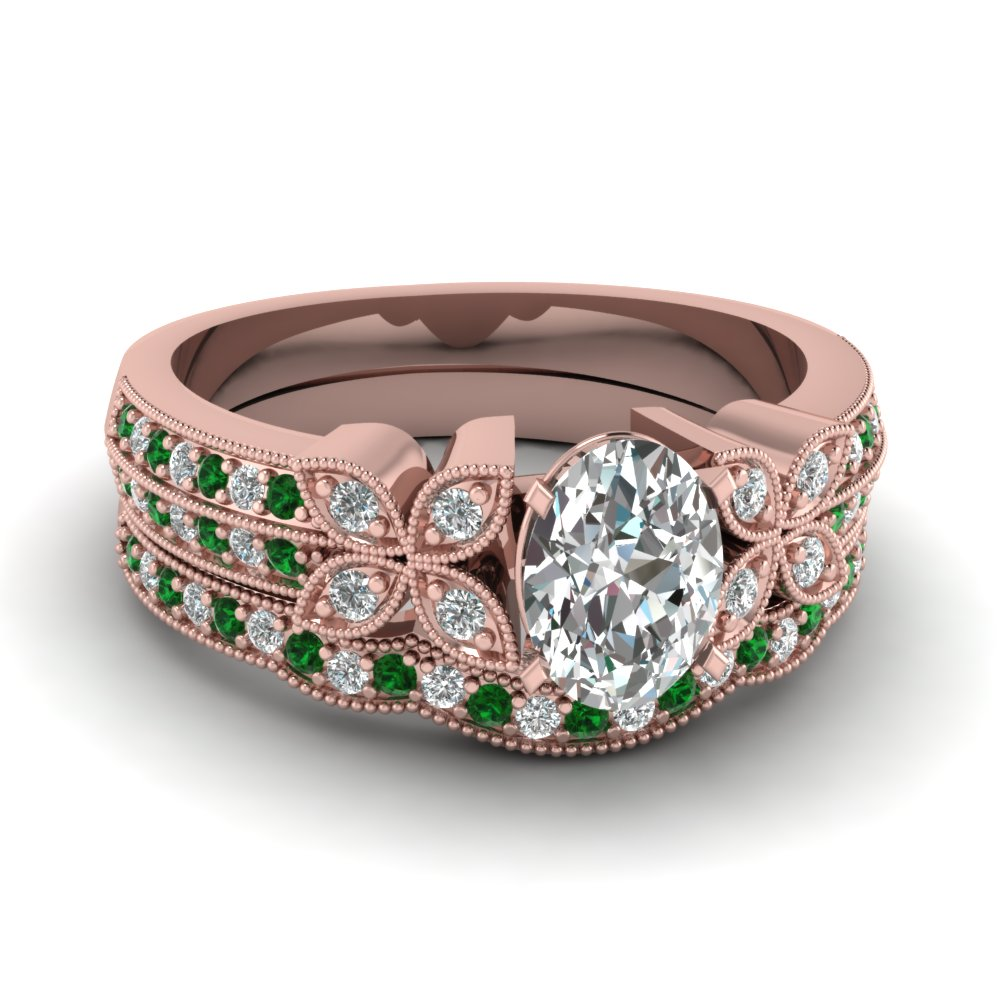 oval-shaped-diamond-milgrain-petal-wedding-set-with-green-emerald-in-14K-rose-gold-FDENS3308OVGEMGR-NL-RG