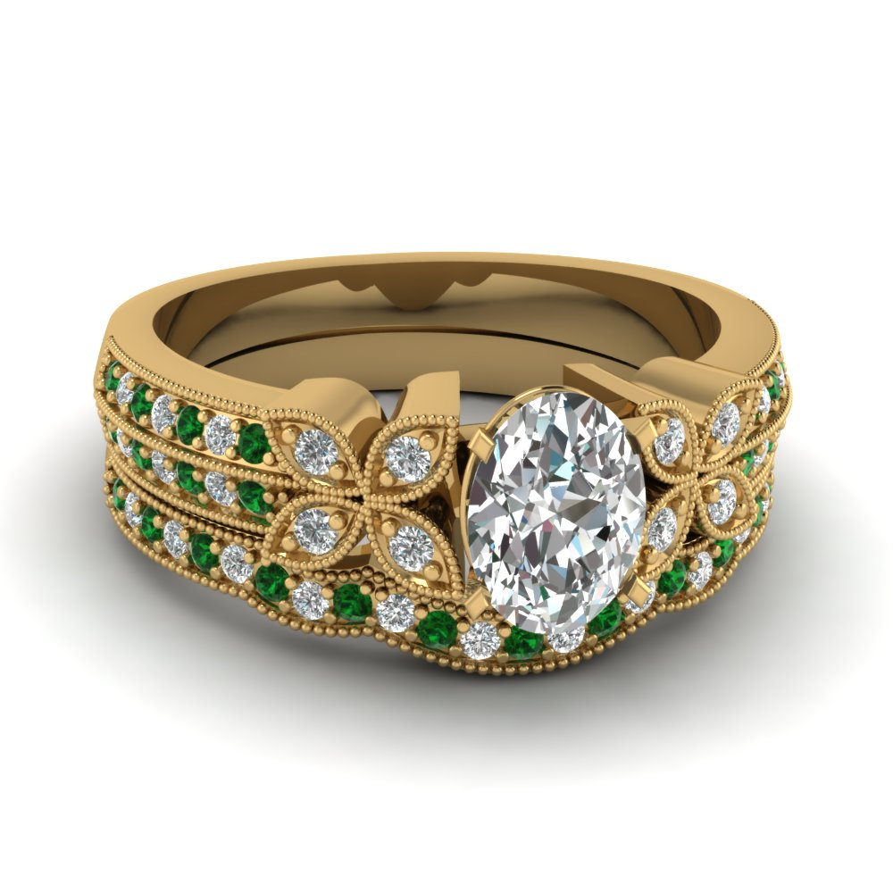 oval-shaped-diamond-milgrain-petal-wedding-set-with-green-emerald-in-14K-yellow-gold-FDENS3308OVGEMGR-NL-YG