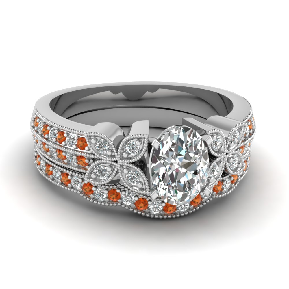 milgrain petal oval diamond wedding ring set with orange sapphire in FDENS3308OVGSAOR NL WG