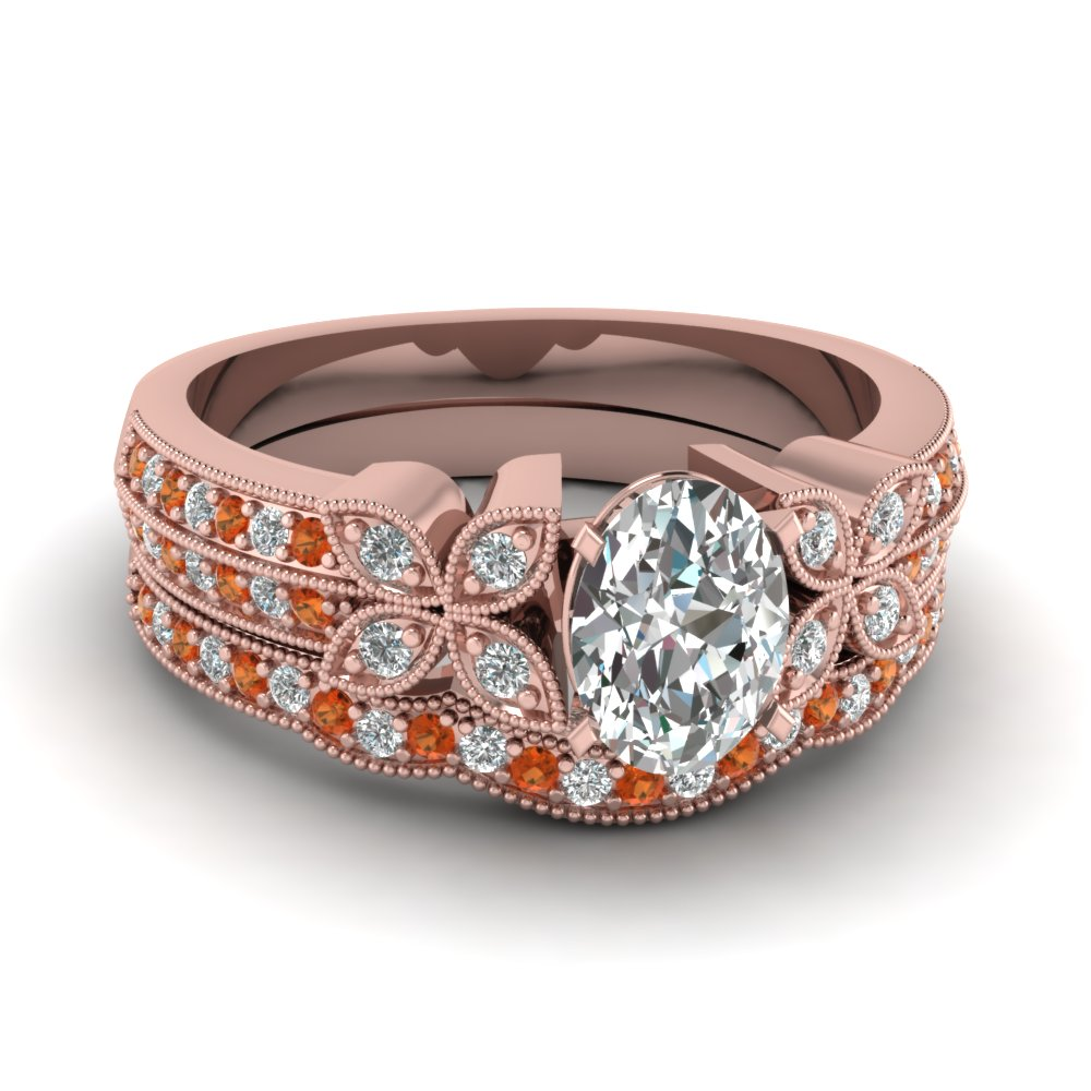 oval-shaped-diamond-milgrain-petal-wedding-set-with-orange-sapphire-in-18K-rose-gold-FDENS3308OVGSAOR-NL-RG