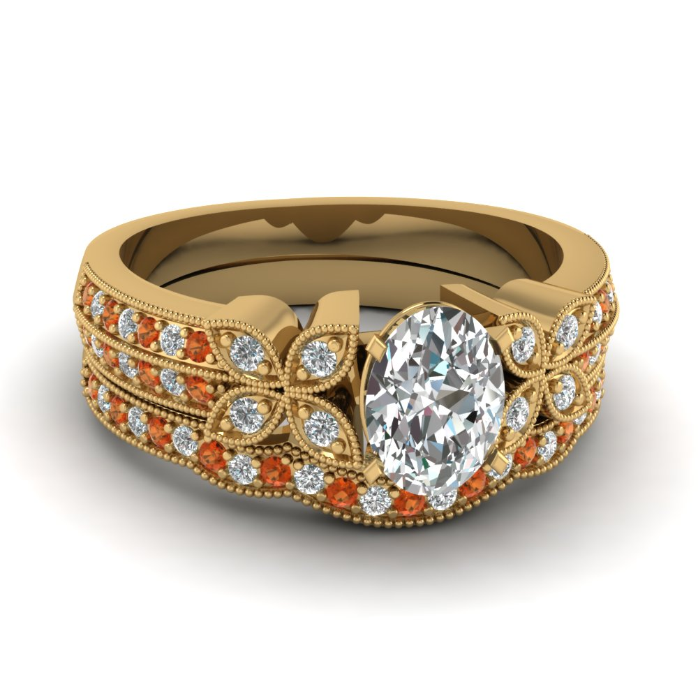 oval-shaped-diamond-milgrain-petal-wedding-set-with-orange-sapphire-in-18K-yellow-gold-FDENS3308OVGSAOR-NL-YG