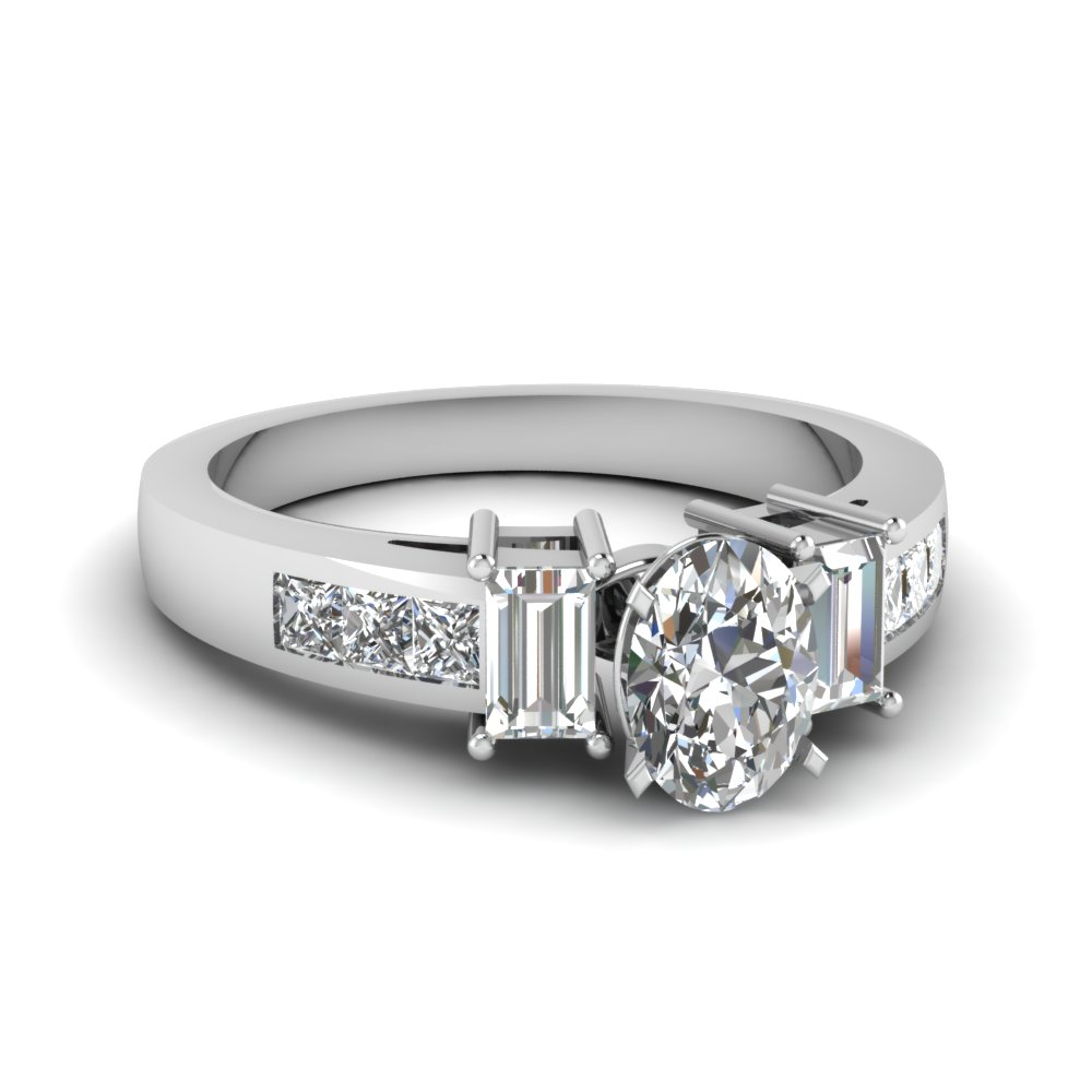 3 stone oval diamond channel engagement ring in FDENR2350OVR NL WG