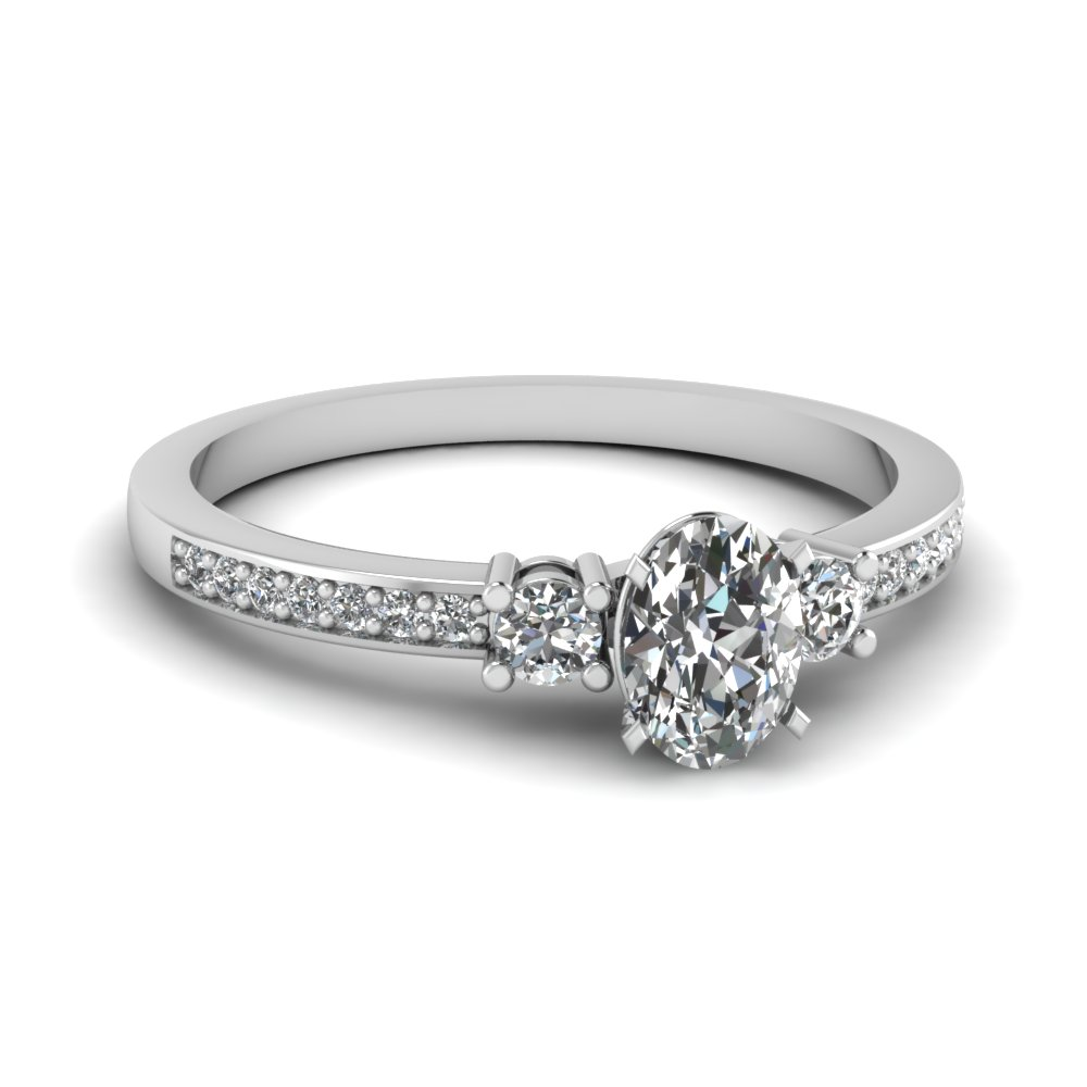 delicate 3 stone oval diamond engagement ring in FDENS3101OVR NL WG