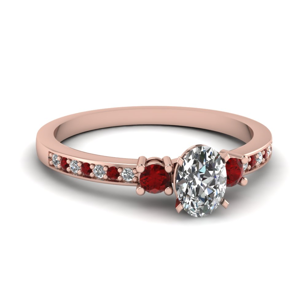 Rose Gold Ruby Petite Wedding Rings
