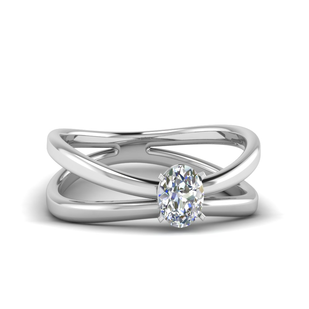 reversed split oval shaped solitaire engagement ring in FD1008OVR NL WG