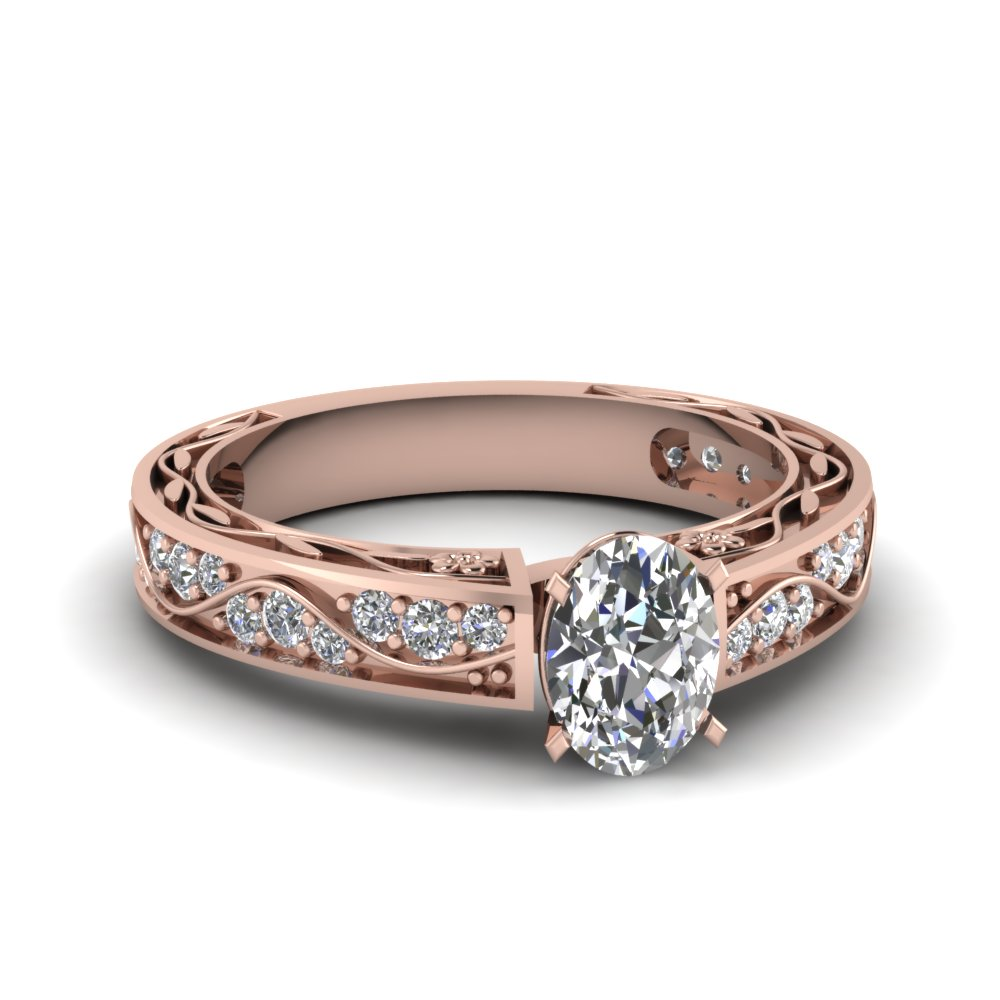 Oval Shaped Antique Filigree Diamond Ring In 14K Rose Gold