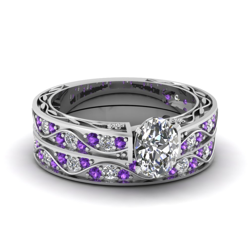 passion promise piece rings two products wedding ring white and purple stone romance stones