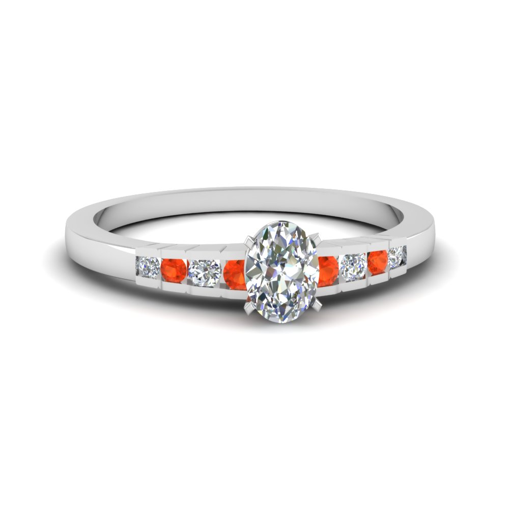 oval shaped diamond graduated accent engagement ring with orange topaz in 14K white gold FDENS3116OVRGPOTO NL WG