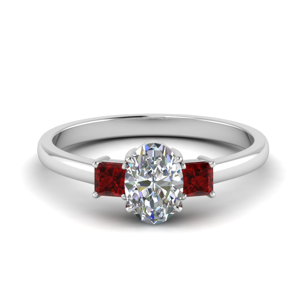 3 stone oval shaped moissanite engagement ring with ruby in 18K white gold FDENS3107OVRGRUDR NL WG