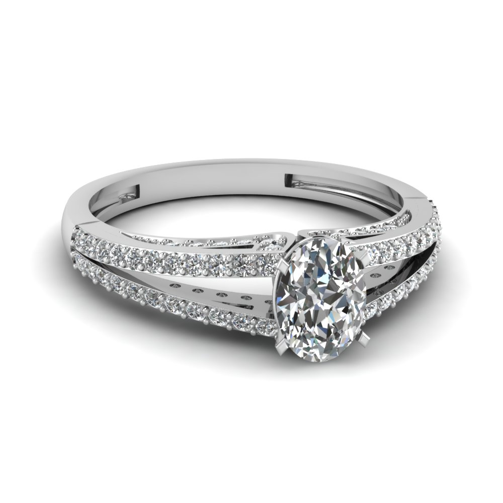 Oval Shaped Split Shank Diamond Engagement Ring In White Gold