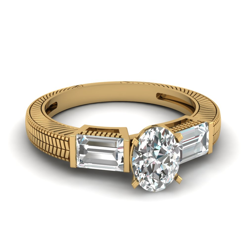 Engraved Shank Baguette Accented Cushion Cut Engagement Ring