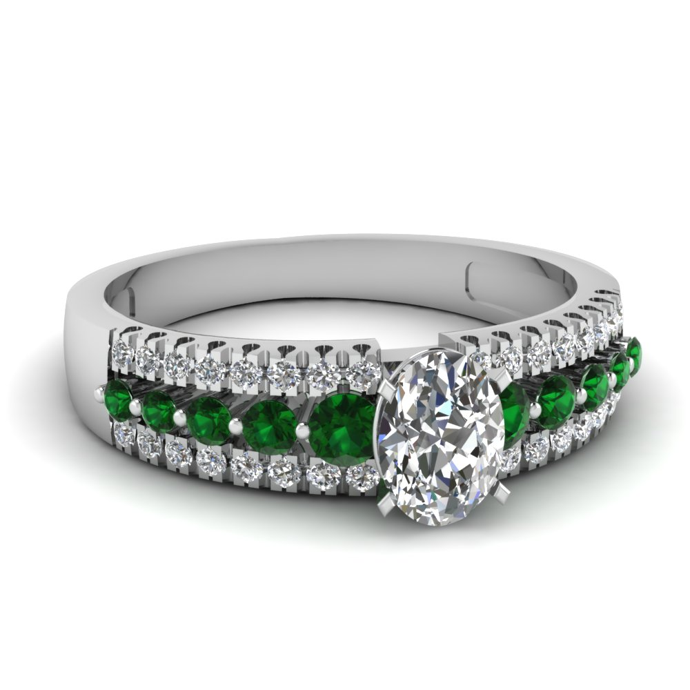 French Pave Diamond And Emerald Ring