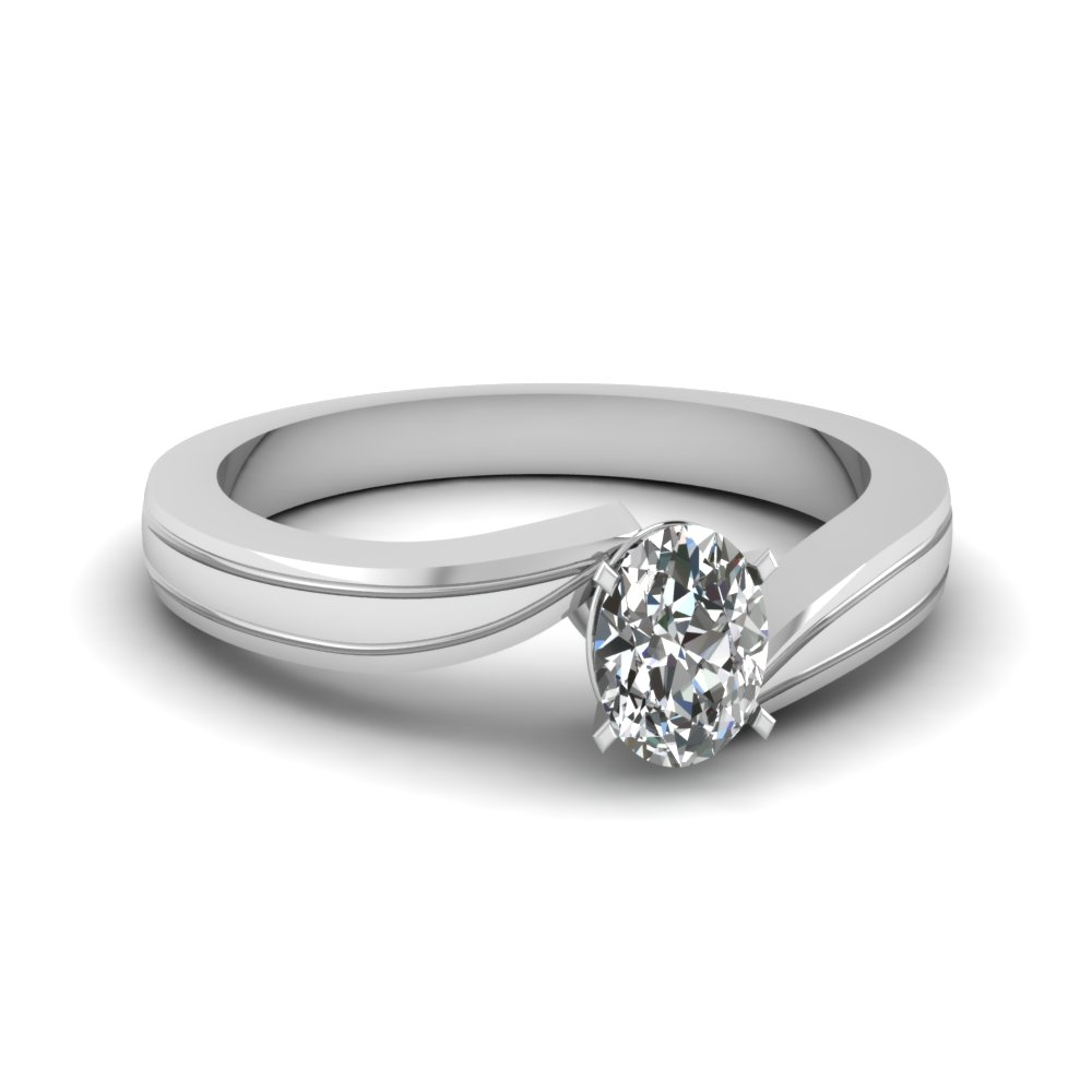 White Gold Oval Shaped Solitaire Rings