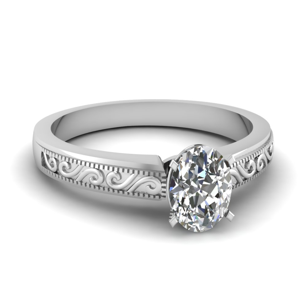 Oval Shaped Diamond Wave Design Solitaire Ring In 18K White Gold