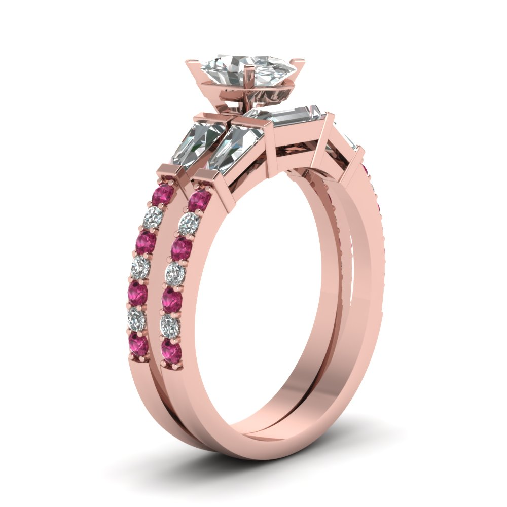 3 Stone Baguette Oval Diamond Wedding Set With Pink Sapphire In 14K ...