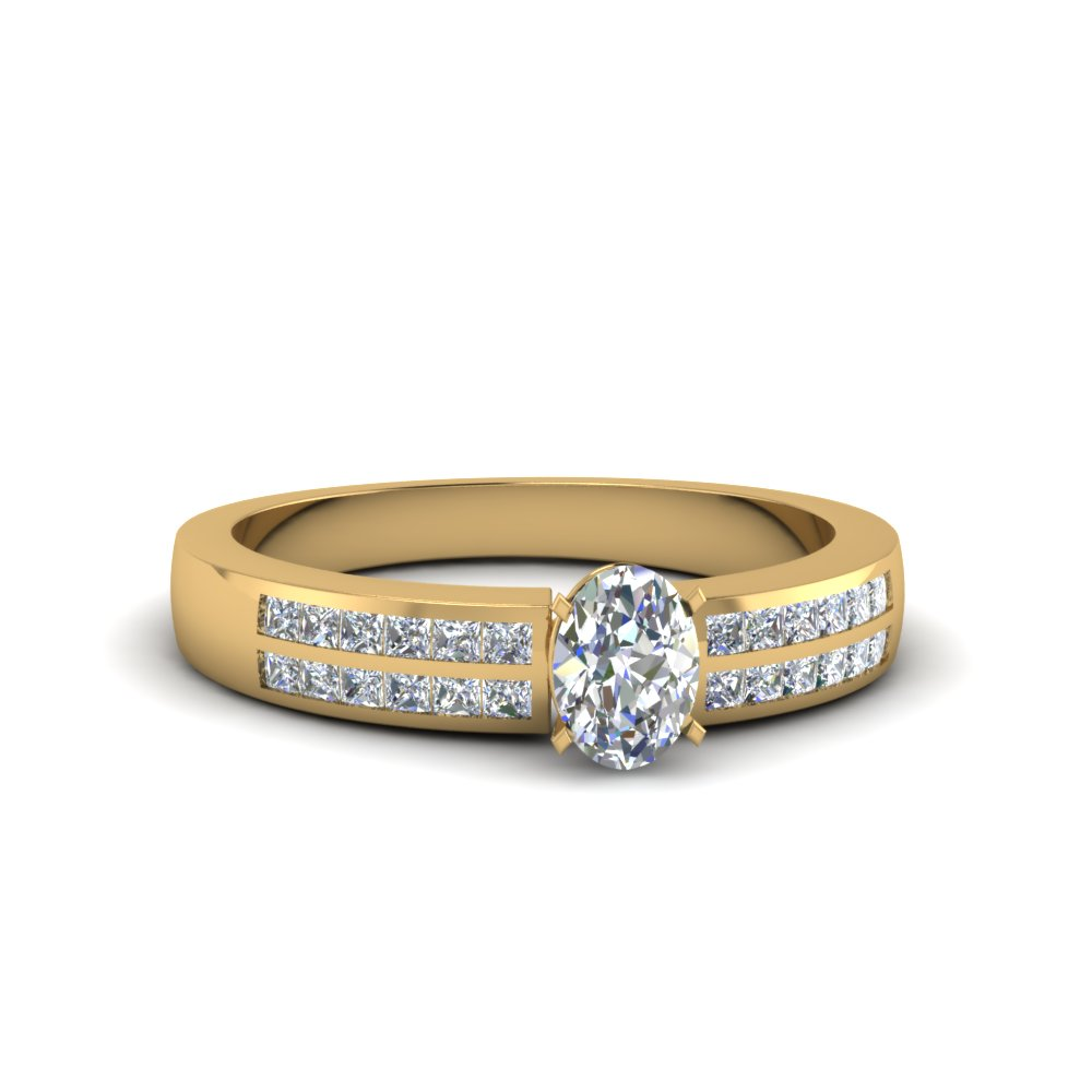 oval shaped double row channel diamond wide ring in 14K yellow gold FDENS3122OVR NL YG