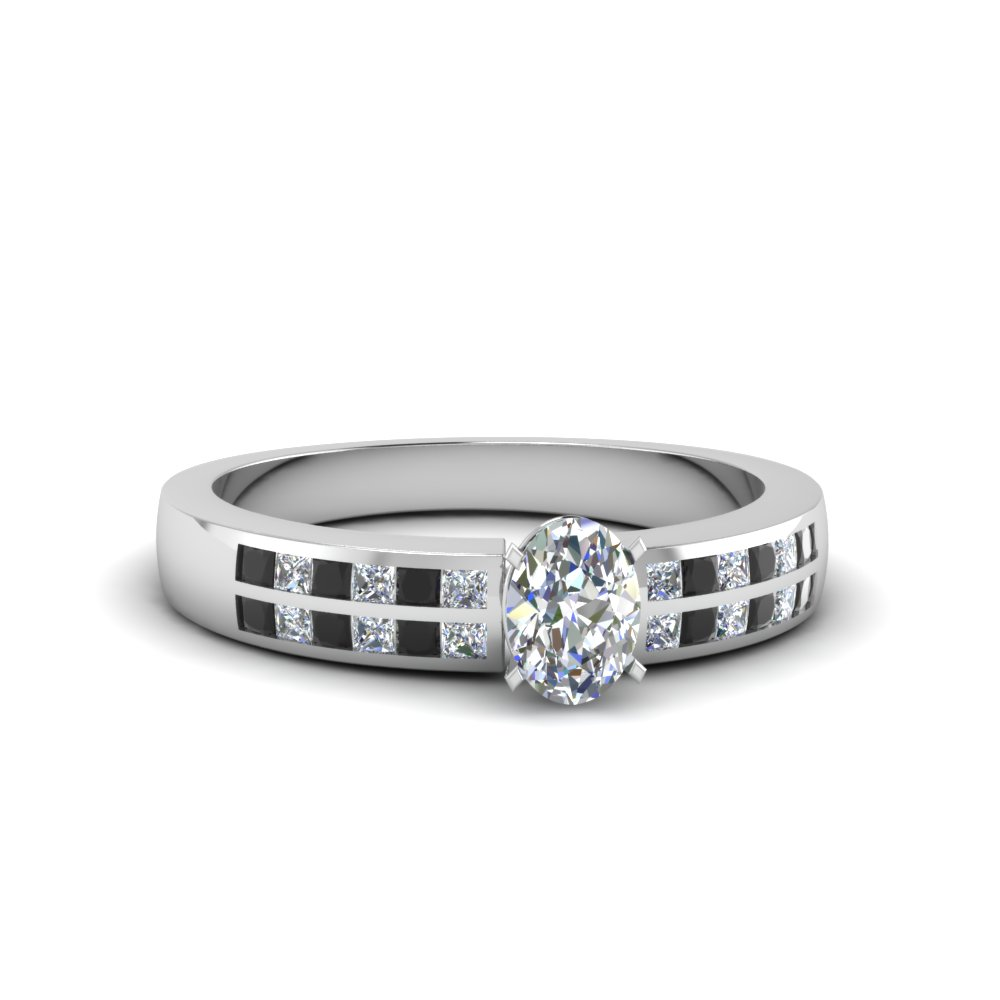 oval shaped double row channel wide ring with black diamond in FDENS3122OVRGBLACK NL WG