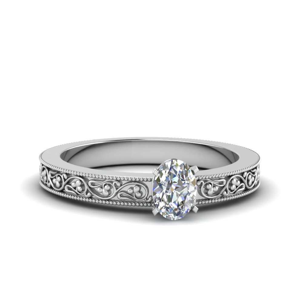 oval shaped filigree solitaire diamond engagement ring for women in 18K white gold FDENS3627OVR NL WG