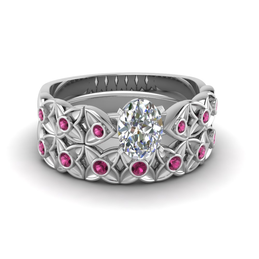 Oval Shaped Pink Sapphire Ring Set
