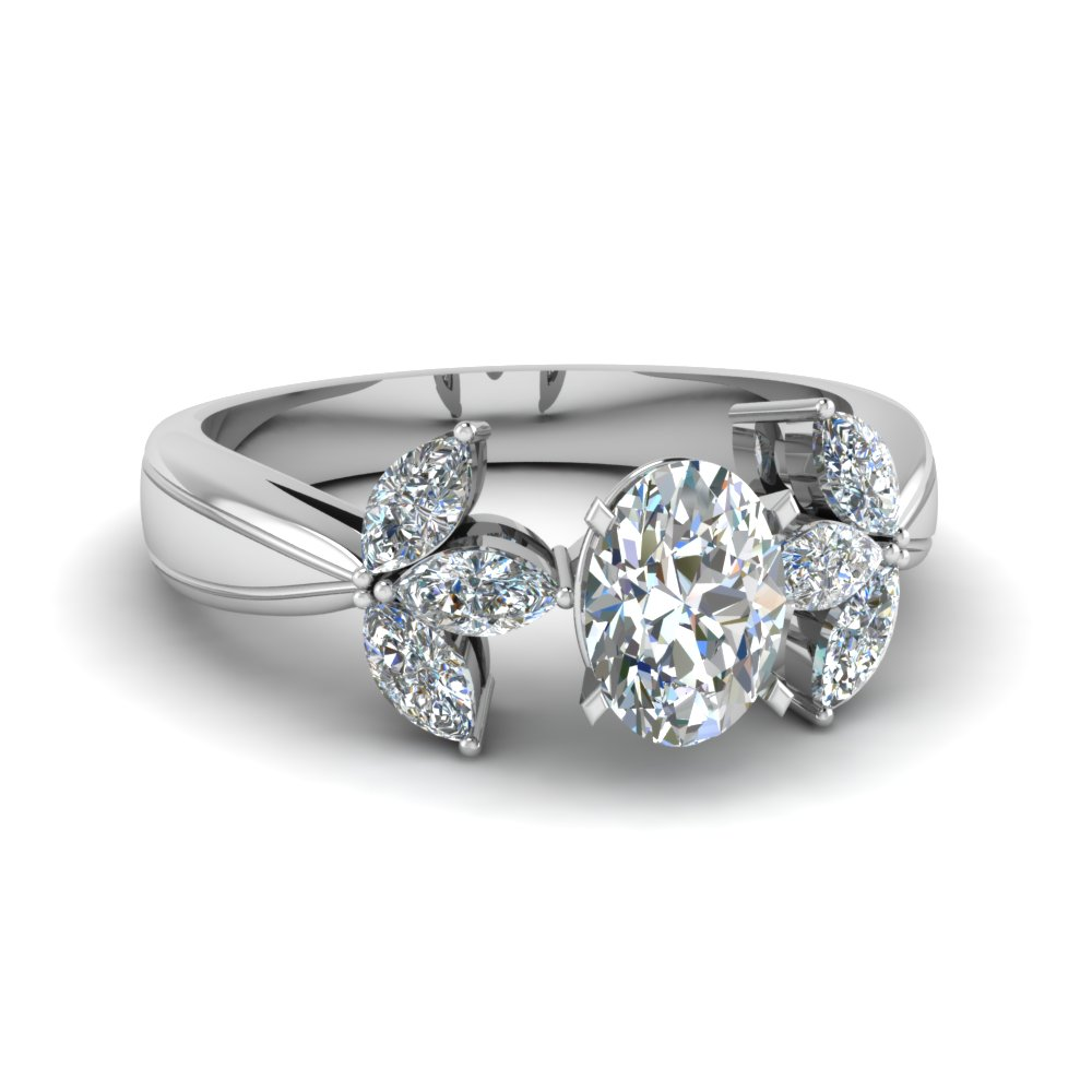 Flower Petal Shaped Engagement Ring
