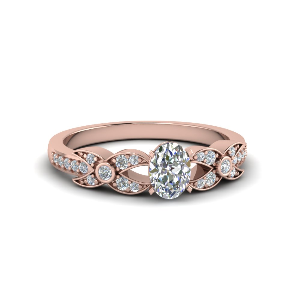 oval shaped flower pave diamond ring in 14K rose gold FDENS3322OVR NL RG