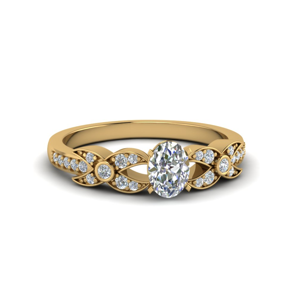 oval shaped flower pave diamond ring in 14K yellow gold FDENS3322OVR NL YG