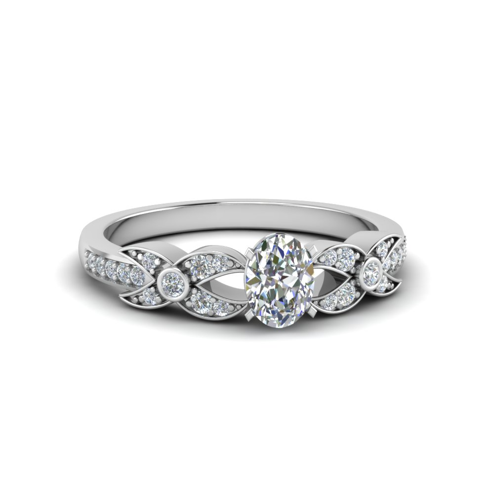 oval shaped flower pave diamond ring in 950 Platinum FDENS3322OVR NL WG