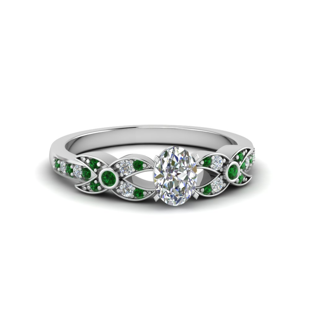 oval shaped flower pave diamond ring with emerald in 14K white gold FDENS3322OVRGEMGR NL WG