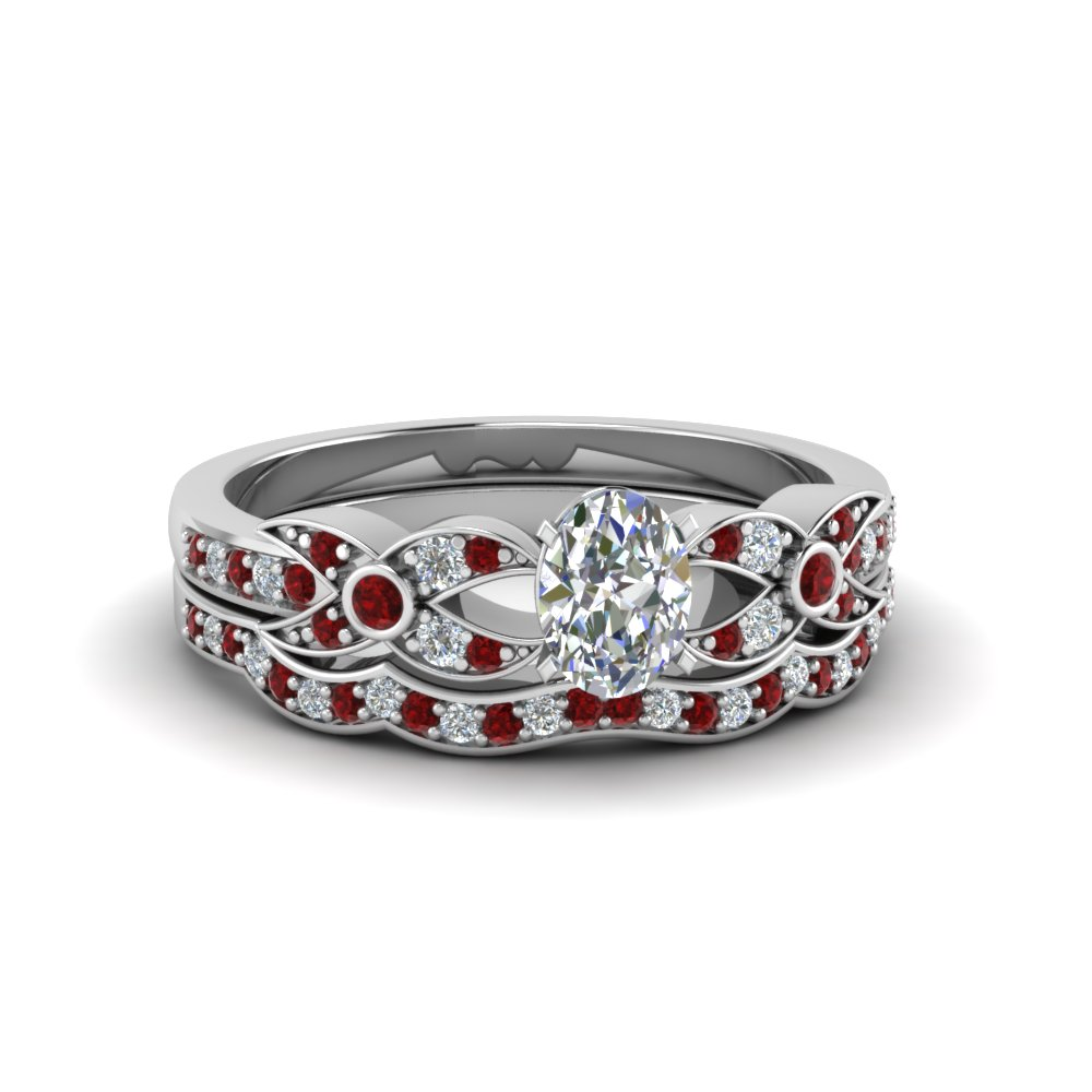 Ruby Bridal Set With Oval Diamond