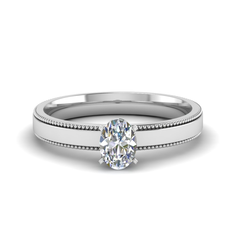877ad32682a996 oval shaped glossy milgrain single stone engagement ring in 14K white gold  FDENR8985OVR NL WG