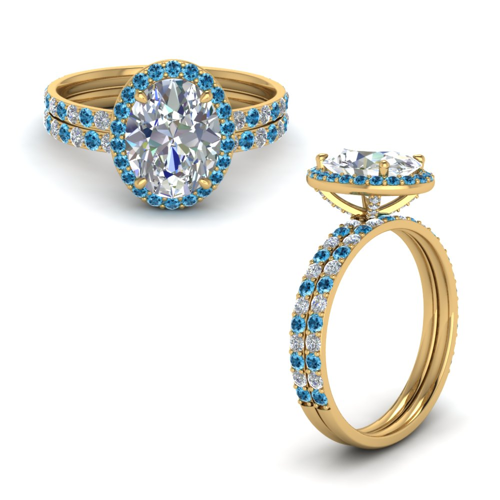Prong studded oval halo diamond bridal set with blue topaz for Stahlwandbecken oval set