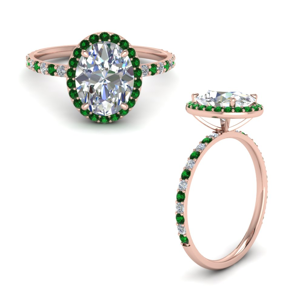 Oval Halo Ring With Emerald