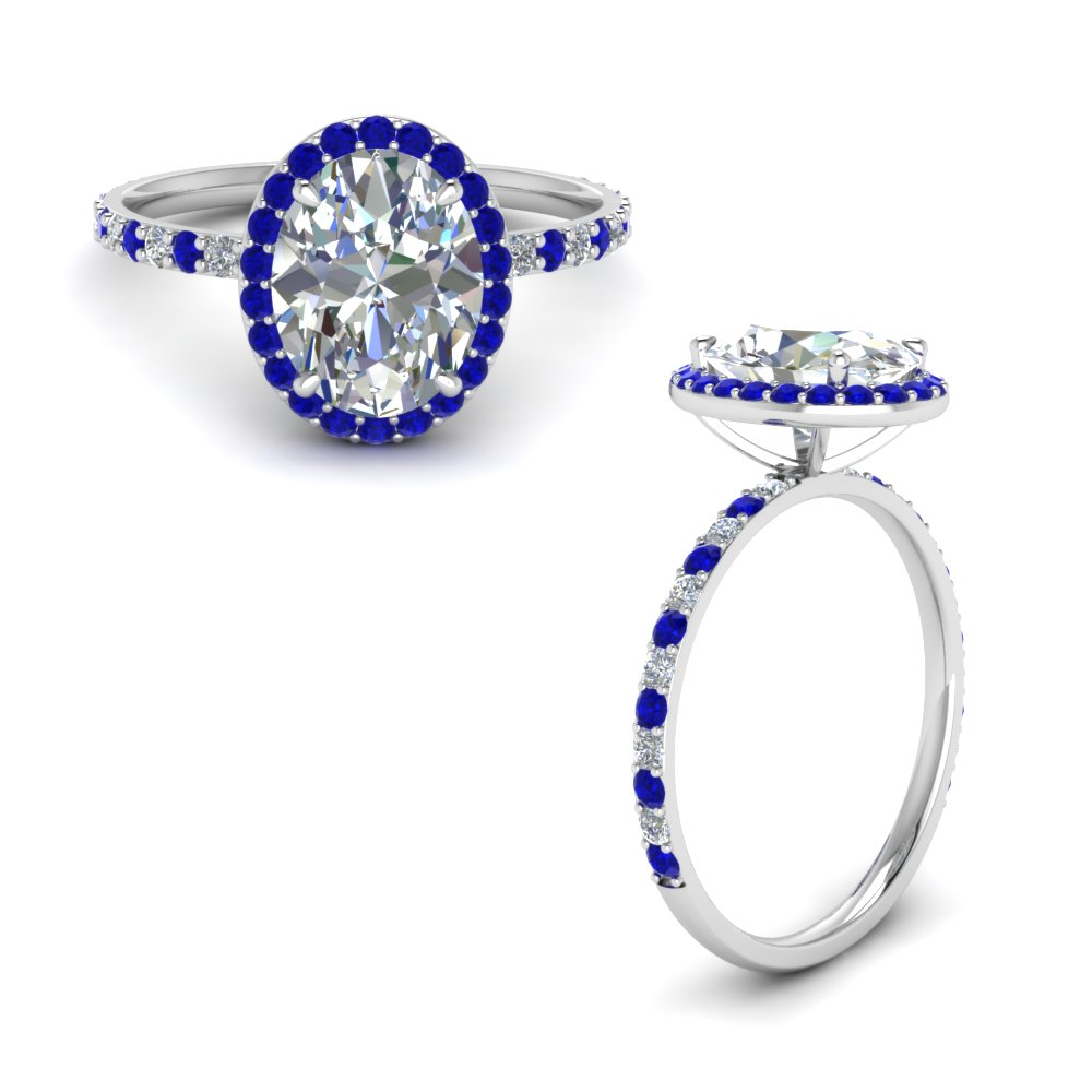 oval shaped halo diamond engagement ring with sapphire in 14K white gold FD8490OVRRGSABLANGLE1 NL WG