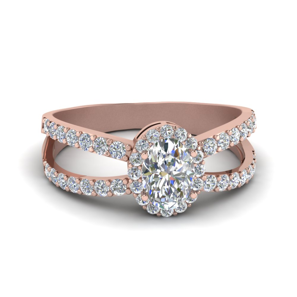 Rose Gold Oval Halo Engagement Rings