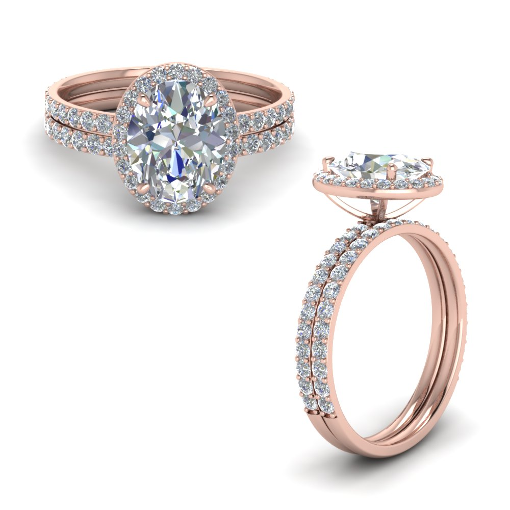 oval shaped halo diamond wedding set in 14K rose gold FD8490OVANGLE1 NL RG