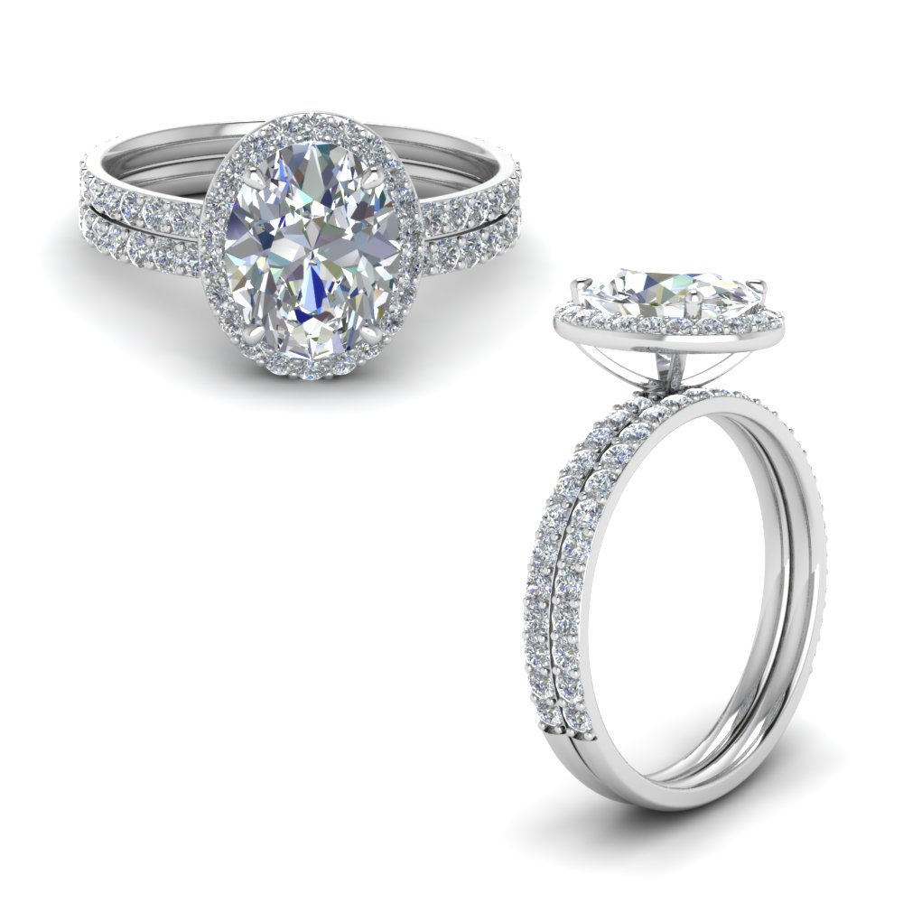 Oval Shaped Halo Diamond Wedding Set In 14K White Gold Fascinating