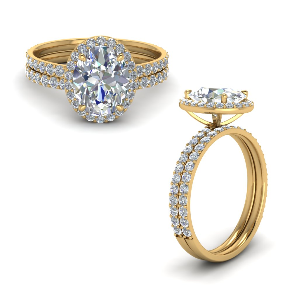 oval shaped halo diamond wedding set in 18K yellow gold FD8490OVANGLE1 NL YG